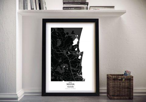 Noosa Map Black Framed Wall Art