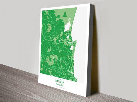 Noosa Map Green Canvas Print