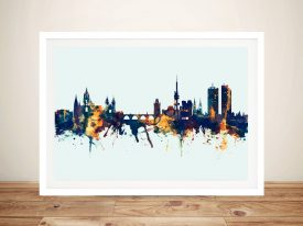 Prague Czech Republic Skyline Framed Wall Art