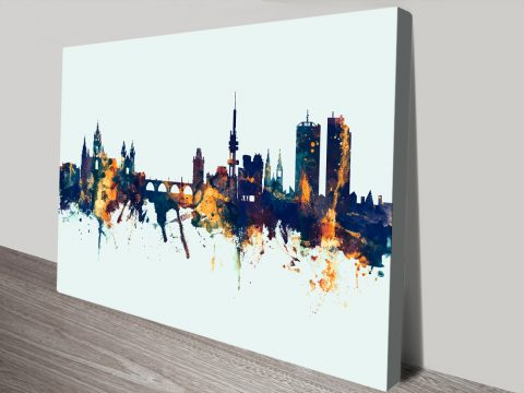 Prague Eggshell Blue Skyline Wall Art Print by Michael Tompsett