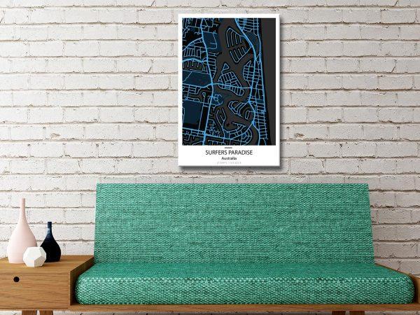 Surfers Paradise Electric Blue City Map Canvas Artwork