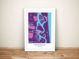 Surfers Paradise Purple City Map Framed Wall Art