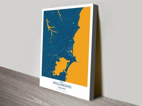 Wollongong CityStreet Map Canvas Art