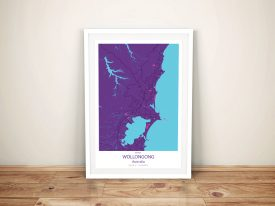 Wollongong Purple Street Map Framed Wall Art
