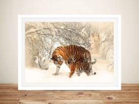 Tiger and Cub Adorable Animal Framed Wall Art