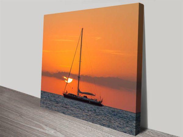 Buy Boat at Dusk Cheap Nautical Canvas Art AU
