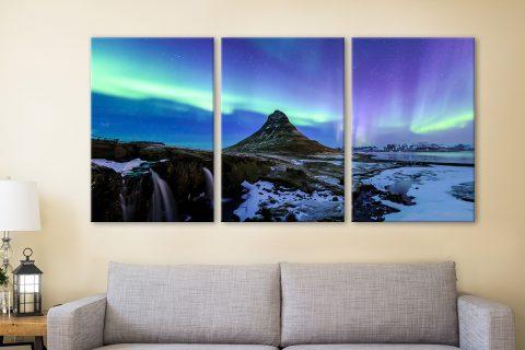 Aurora Borealis Triptych Set Canvas Artwork