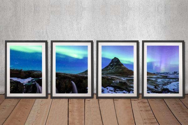 Framed 4-Panel Iceland Northern Lights Art
