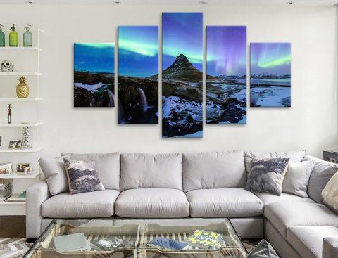 Buy Aurora Northern Lights 5 Panel Canvas Print