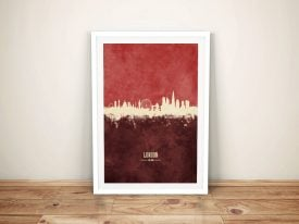 Buy London Skyline Red Two-Tone Framed Art