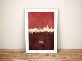 Buy London Skyline Red Two-Tone Framed Art