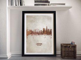 Buy A London Skyline Watercolour Print in Rust