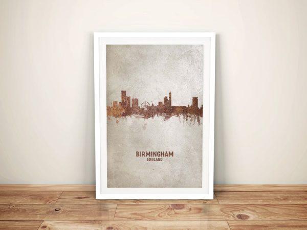 Birmingham Watercolour Skyline Framed Print