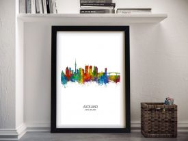 Buy Auckland Skyline A Colourful Framed Print