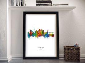 Buy Auckland Skyline A Colourful Framed Print