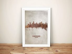 Vancouver Rust Skyline Watercolour Wall Art