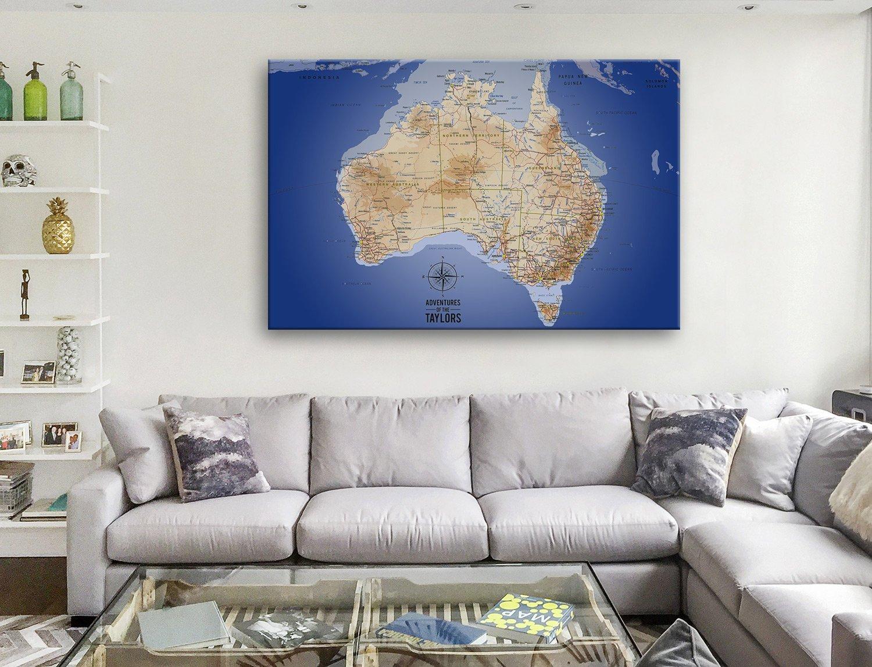 Australia Sea Blue Push Pin Map