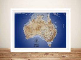 Australia Sea Blue Framed Pinboard Wall Art