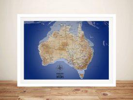 Australia Sea Blue Framed Pinboard Wall Art