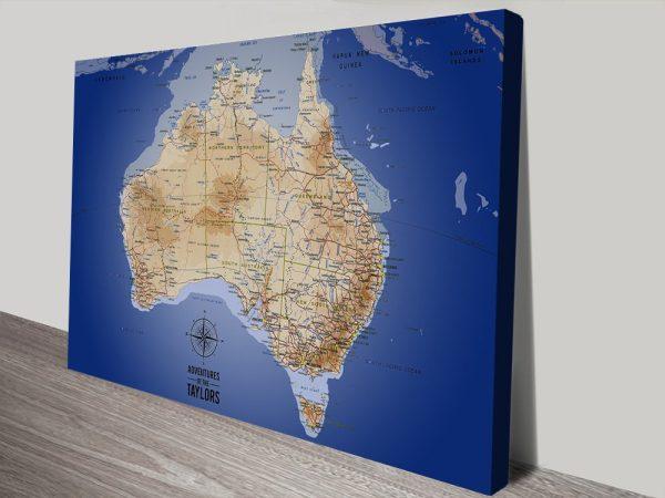 Personalised Australia Sea Blue Blue Pin Map Art