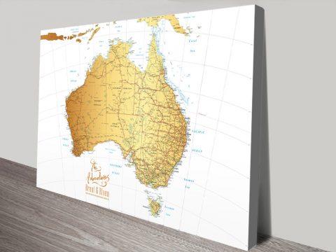 Australia White & Gold Pushpin Map Canvas