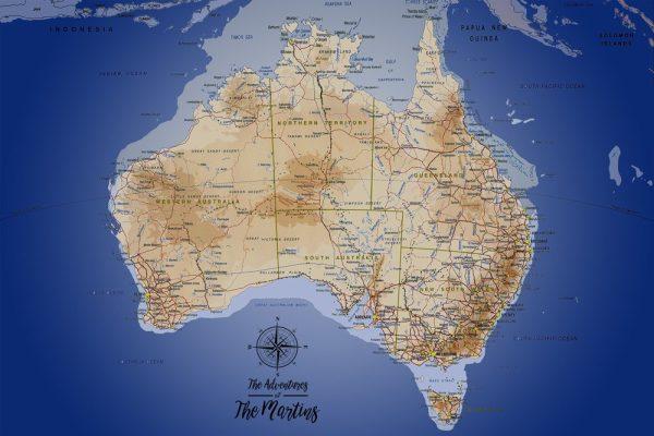 Australia sea blue Personalised Map Art