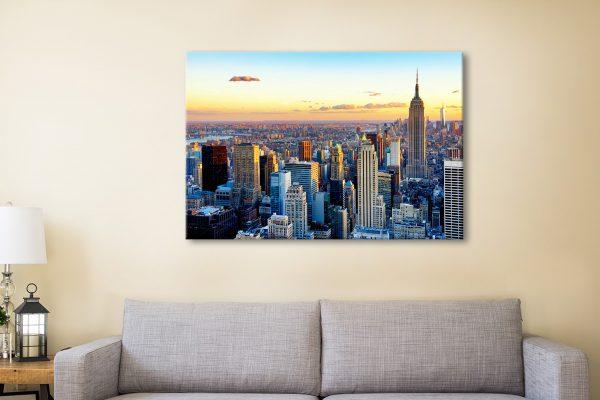 Buy a New York Sunset Canvas Print Cheap Online