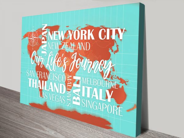 Custom Turquoise and Orange Map with Words Push Pin Travel Map