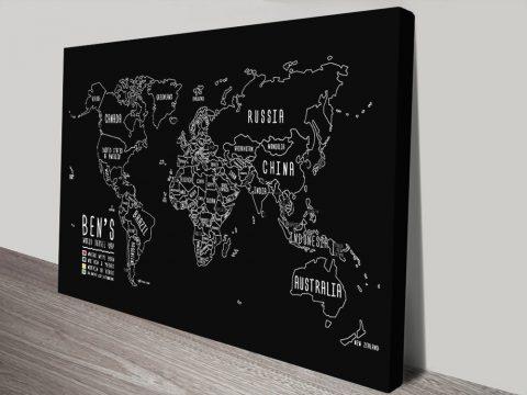 Custom Chalkboard World Map Canvas Print