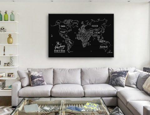 Buy Personalised Chalkboard Push Pin Map