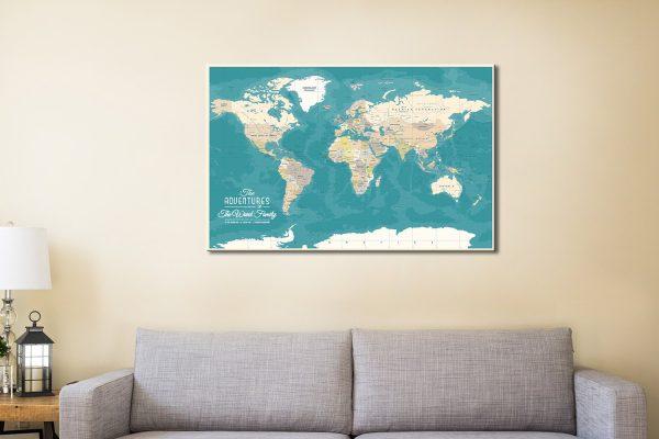 Custom World Map Canvas Pinboard