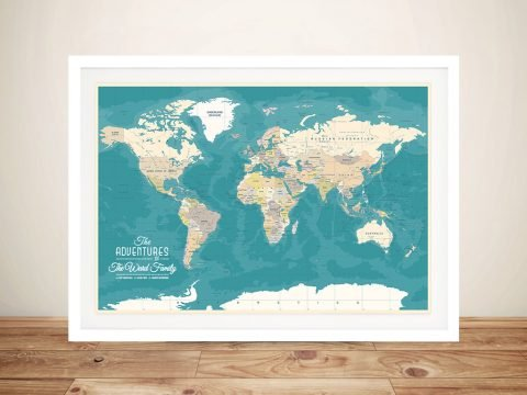 Personalised Oceanic Green Push Pin Travel Map