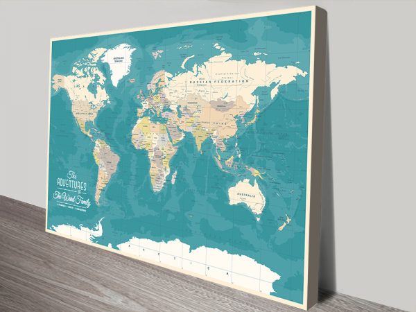 Green World Map canvas print with Pins