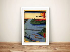 Nakagawa River Mouth Framed Canvas Wall Art