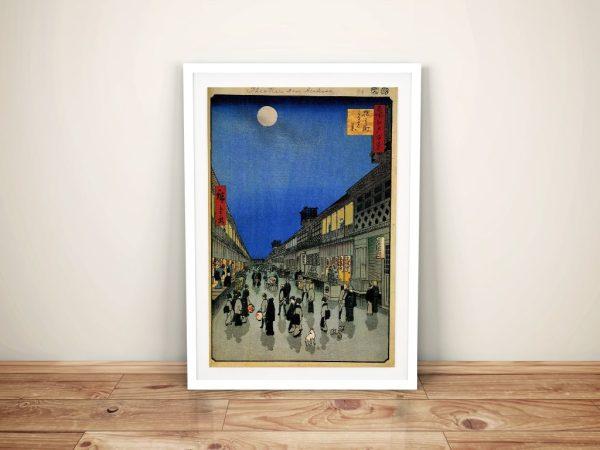 Buy Night View of Sarukawa Framed Canvas Art