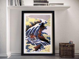 Waterfall & Horse Washing Hokusai Canvas Art