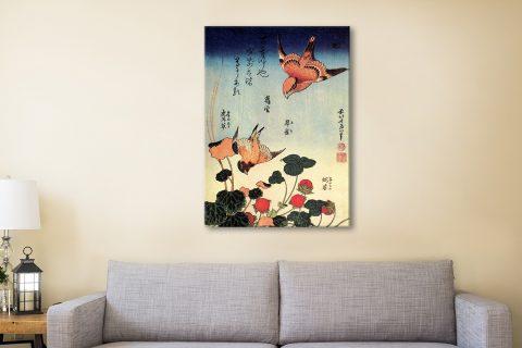 Wild Strawberries & Birds Charming Japanese Art