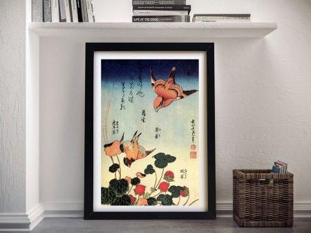 Wild Strawberries and Birds Hokusai Wall Art