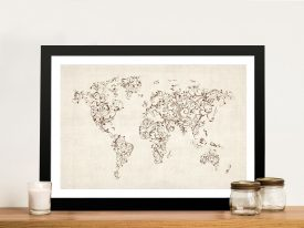 Buy a Michael Tompsett Floral Swirl World Map
