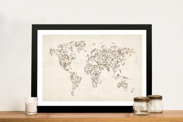 Buy a Michael Tompsett Floral Swirl World Map