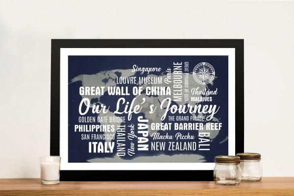 Navy Blue Map Word Art Framed