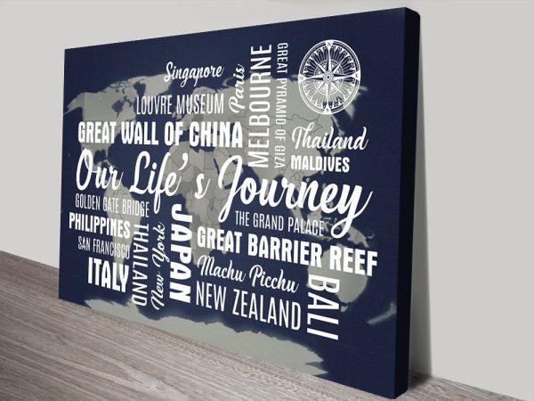 Custom Blue Word Art Travel Map print