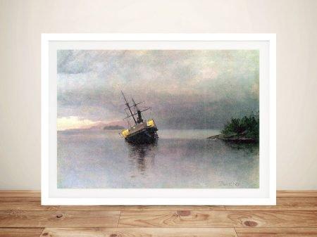 Shipwreck in Loring Bay Seascape Canvas Art