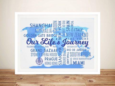 Sky Blue Map Word Art Framed Wall Print