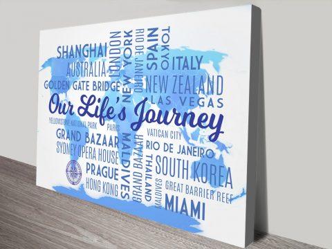 Sky Blue Map Word Art canvas print