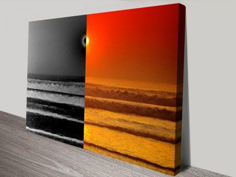 Sunset Reflections Split Ocean Sunset Scene Canvas Art Prints Australia