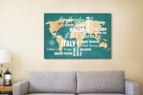 Buy Custom Green Push Pin Travel Map Canvas Print