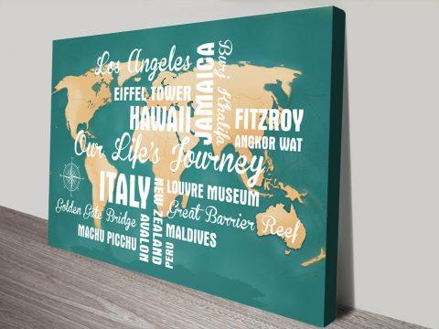 Buy Customisable Green Push Pin Travel Map canvas print