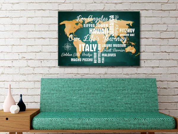 Buy Custom Dark Green Push Pin Map with Words Australia