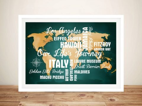 Framed Personalised Dark Green Push Pin Map